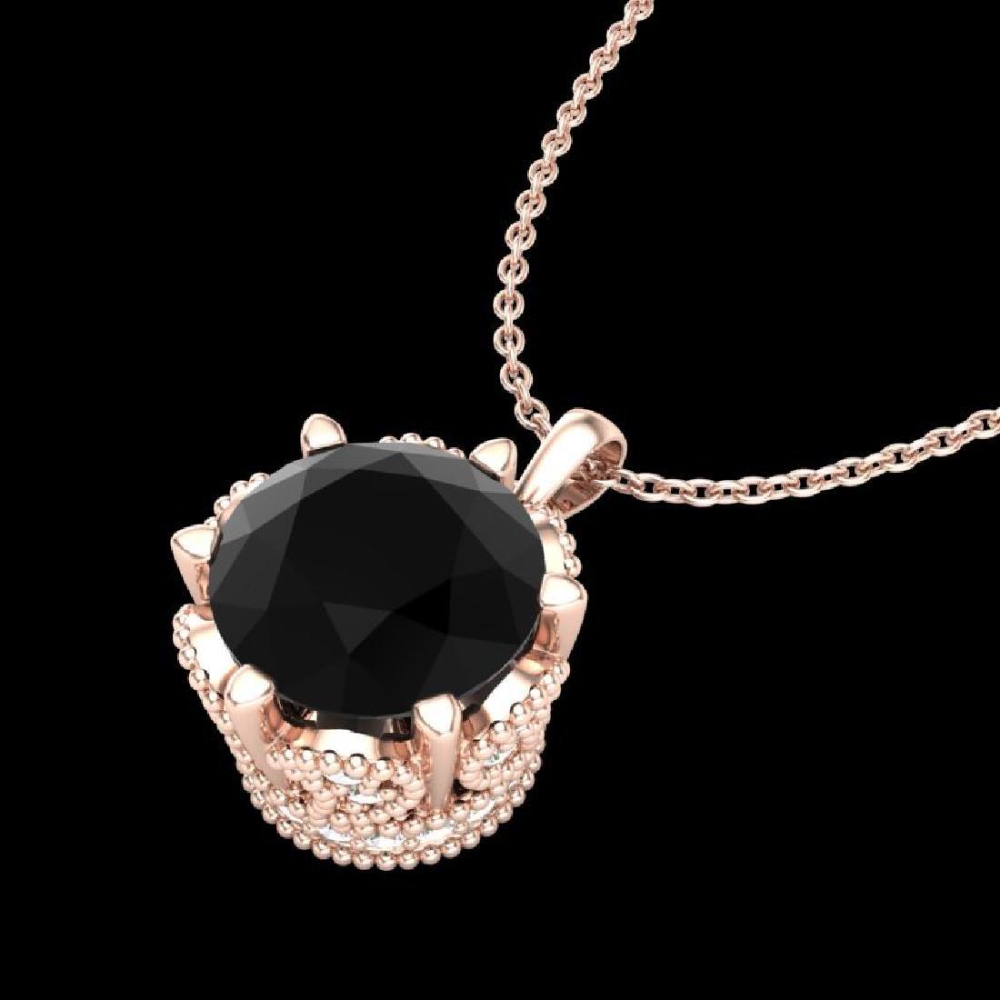 1.36 CTW Fancy Black Diamond Solitaire Art Deco Stud - 2