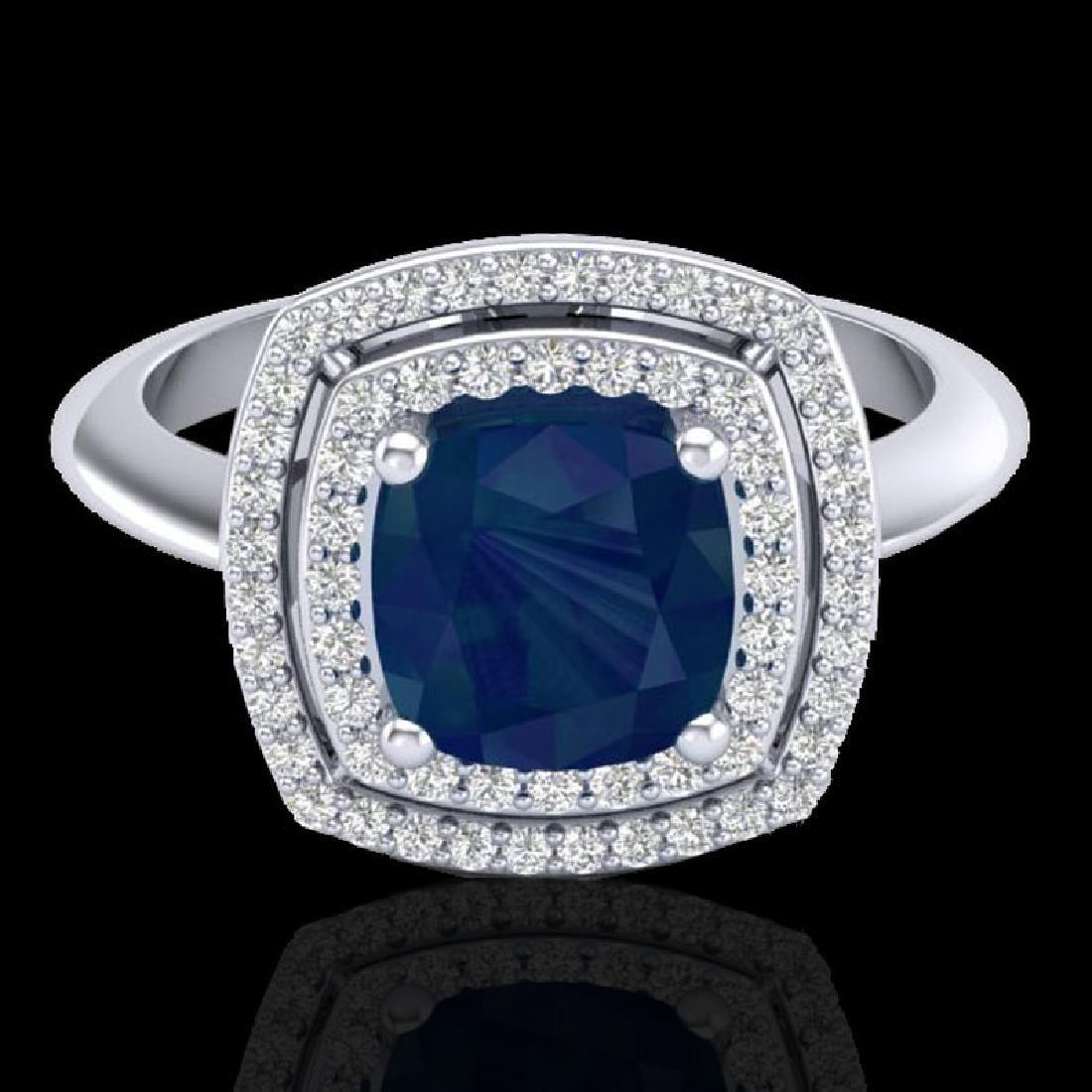 2.52 CTW Sapphire & Micro VS/SI Diamond Pave Halo Ring
