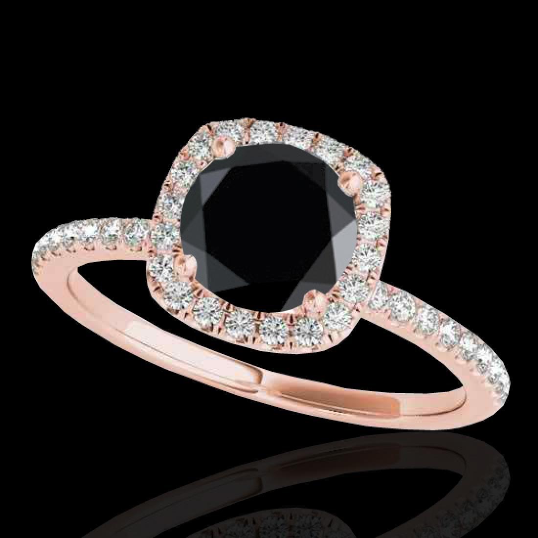 1.25 CTW Certified VS Black Diamond Solitaire Halo Ring