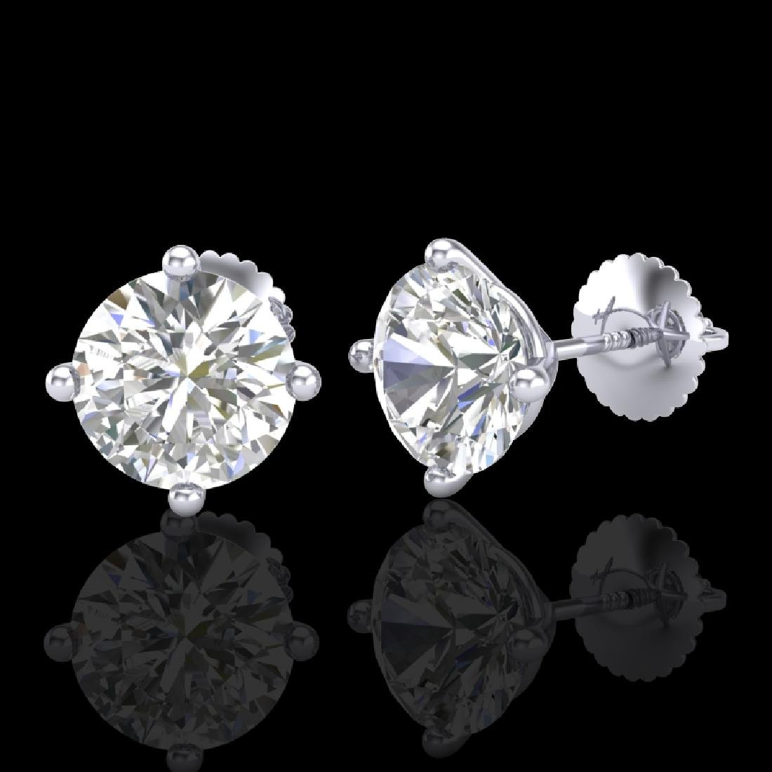 3.01 CTW VS/SI Diamond Solitaire Art Deco Stud Earrings - 2