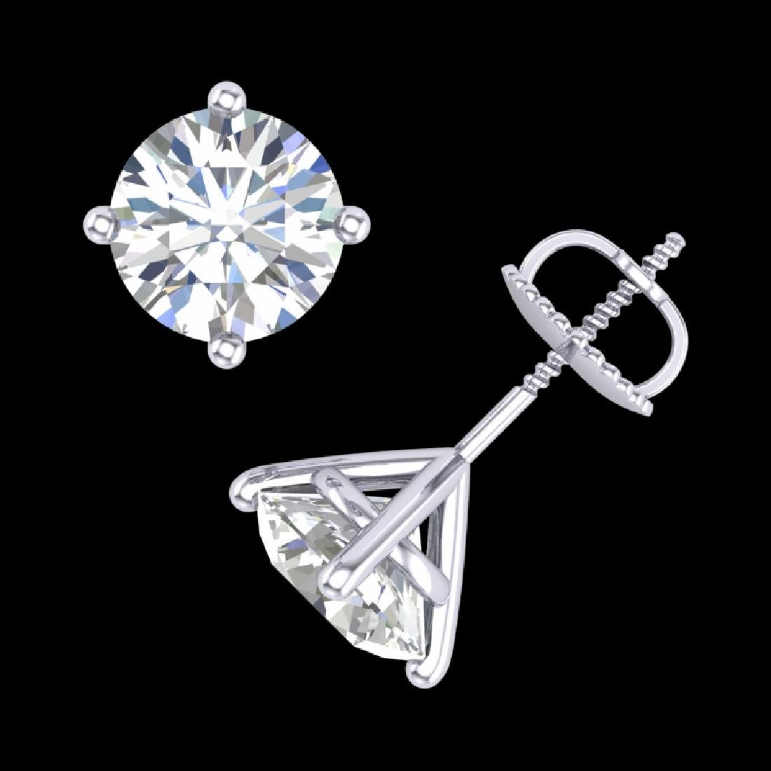 3.01 CTW VS/SI Diamond Solitaire Art Deco Stud Earrings - 3