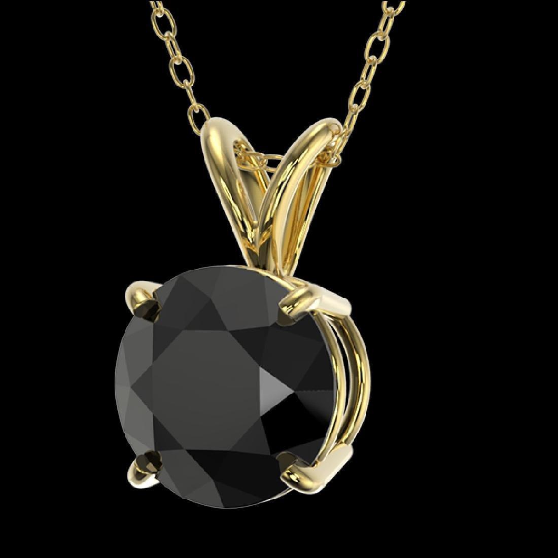 1.50 CTW Fancy Black VS Diamond Solitaire Necklace 10K - 2