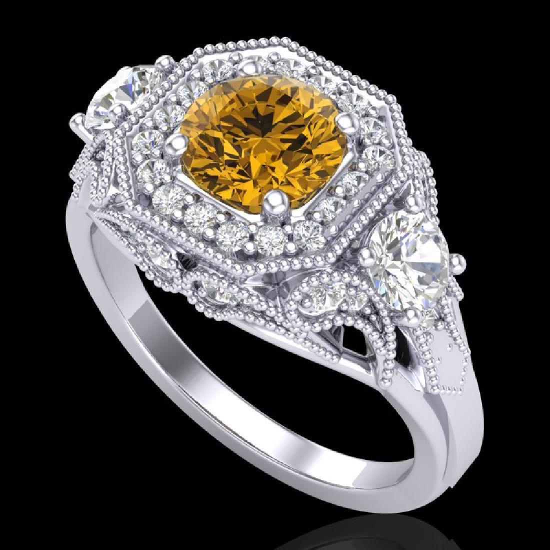 2.11 CTW Intense Fancy Yellow Diamond Art Deco 3 Stone