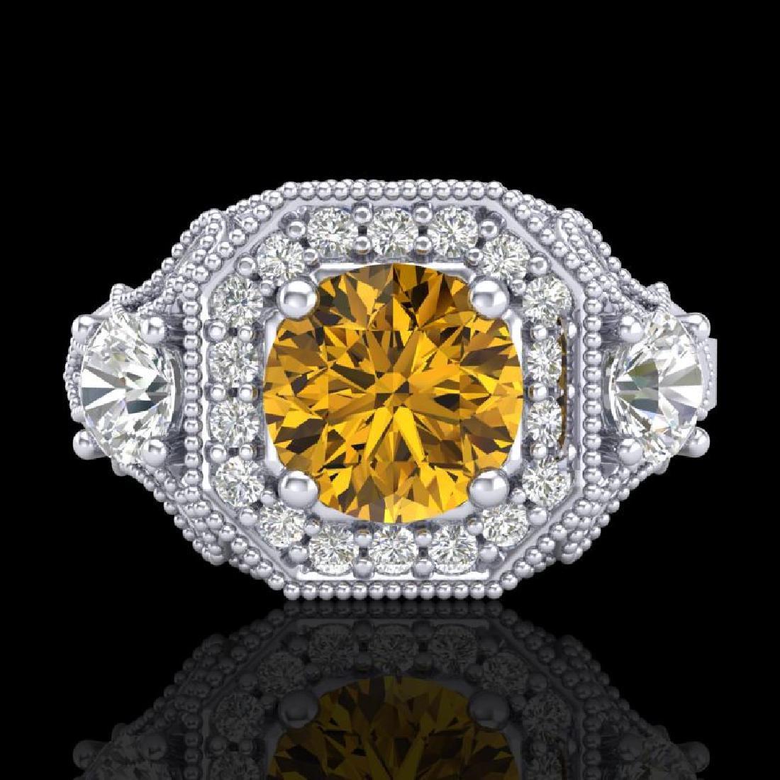2.11 CTW Intense Fancy Yellow Diamond Art Deco 3 Stone - 2
