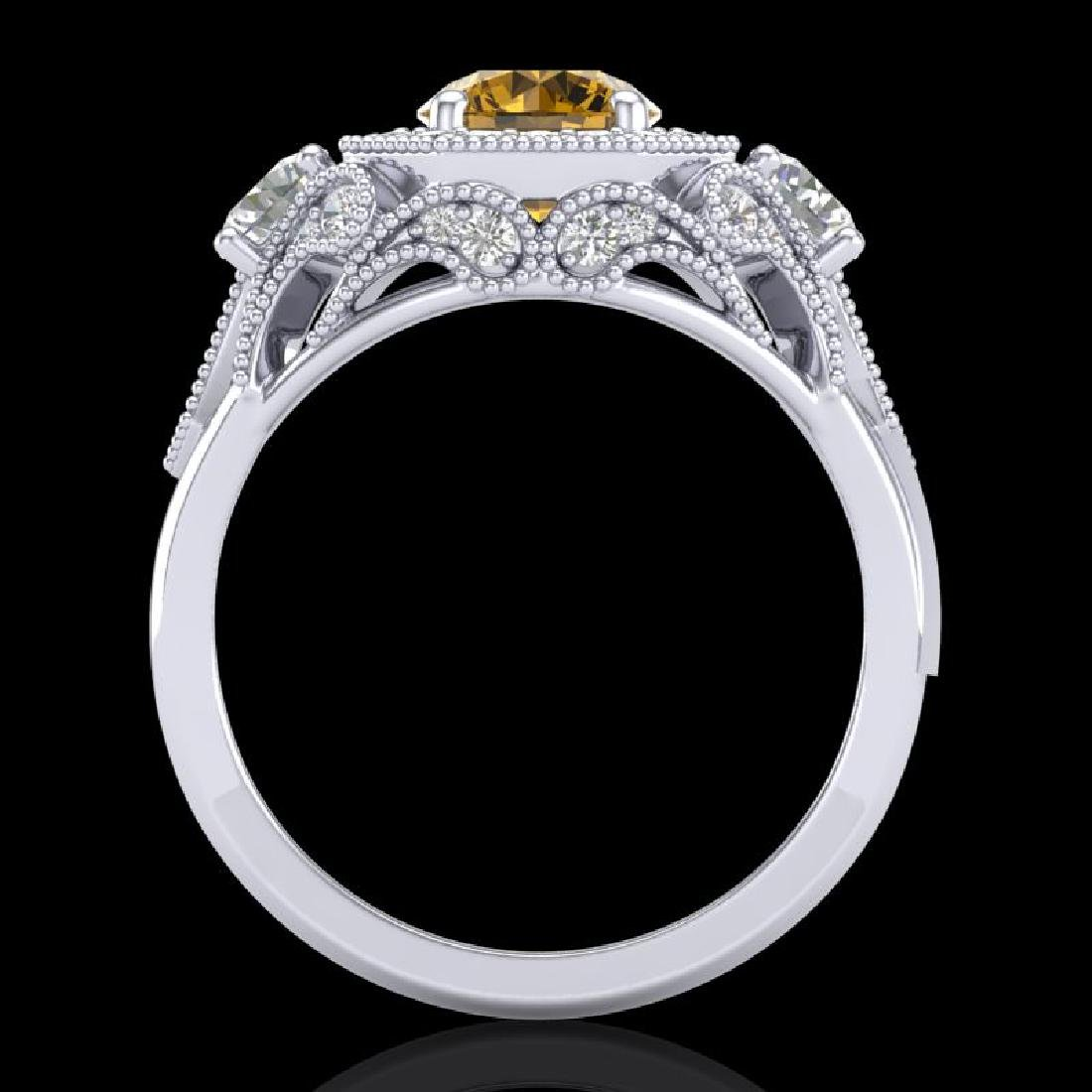 2.11 CTW Intense Fancy Yellow Diamond Art Deco 3 Stone - 3