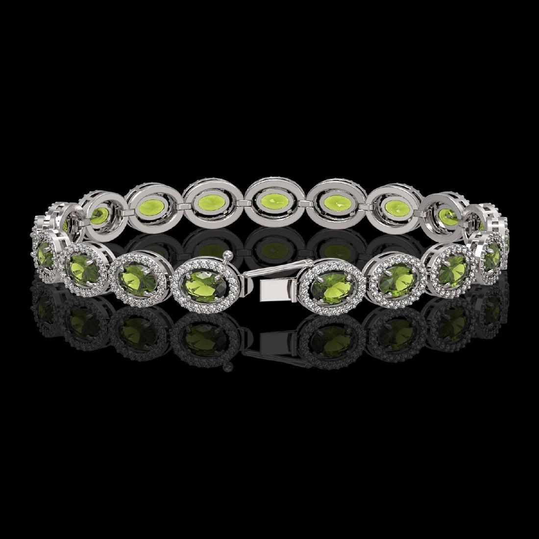 13.87 CTW Tourmaline & Diamond Halo Bracelet 10K White - 2