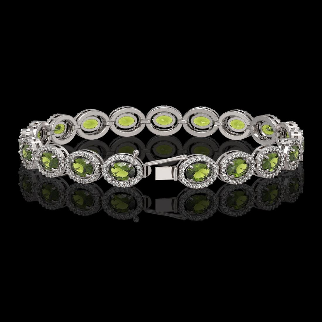 13.87 CTW Tourmaline & Diamond Halo Bracelet 10K White - 2