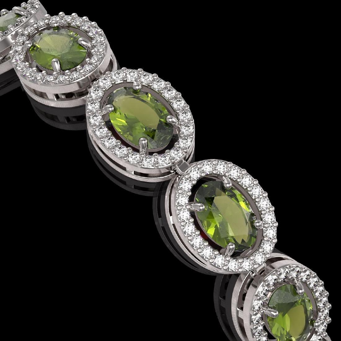 13.87 CTW Tourmaline & Diamond Halo Bracelet 10K White - 3