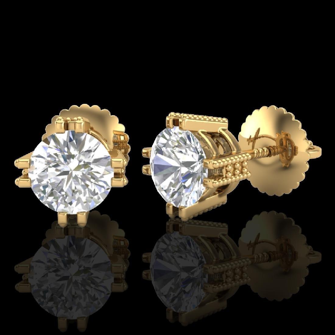 1.07 CTW VS/SI Diamond Solitaire Art Deco Stud Earrings - 2