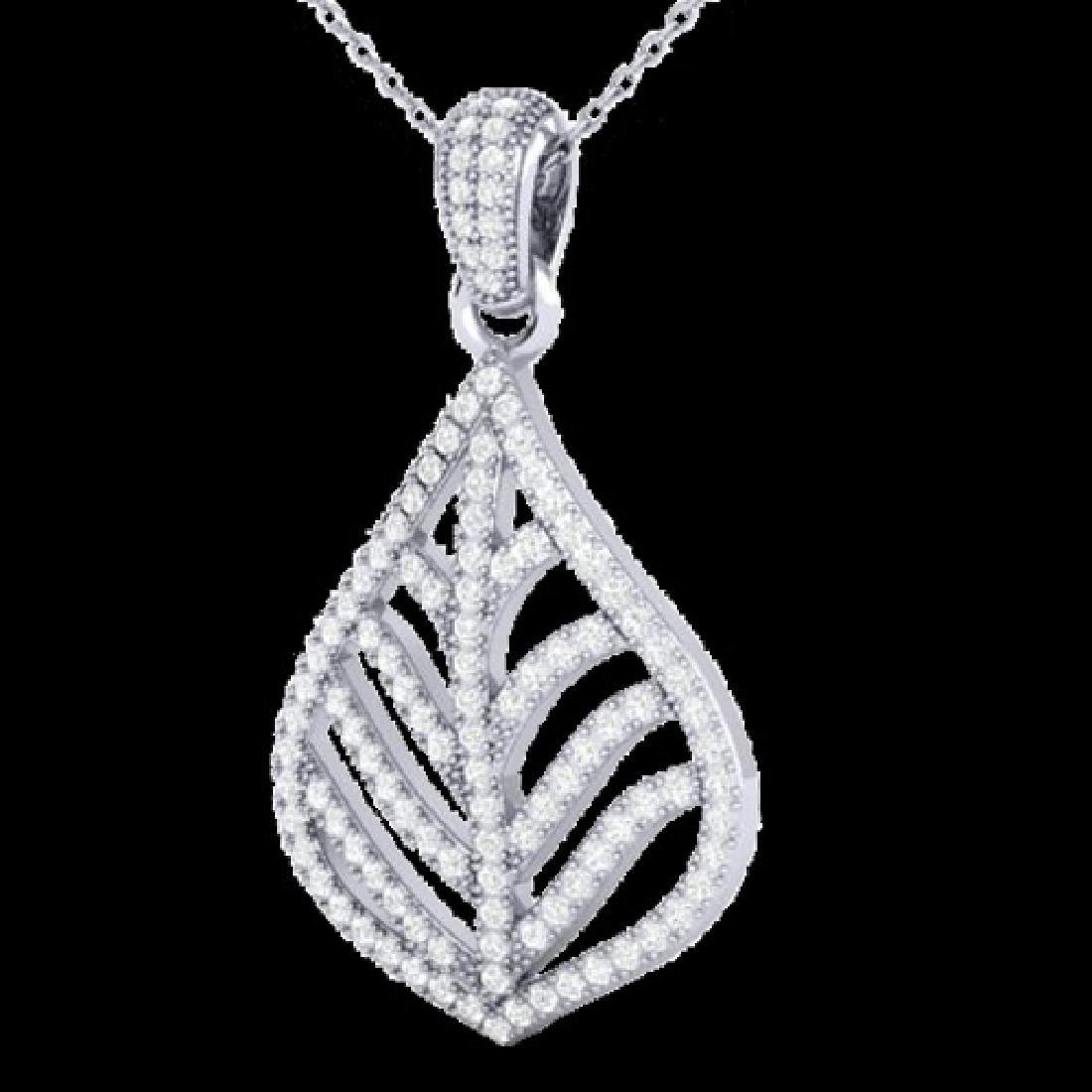 1.25 CTW Micro Pave VS/SI Diamond Necklace Designer 18K - 2