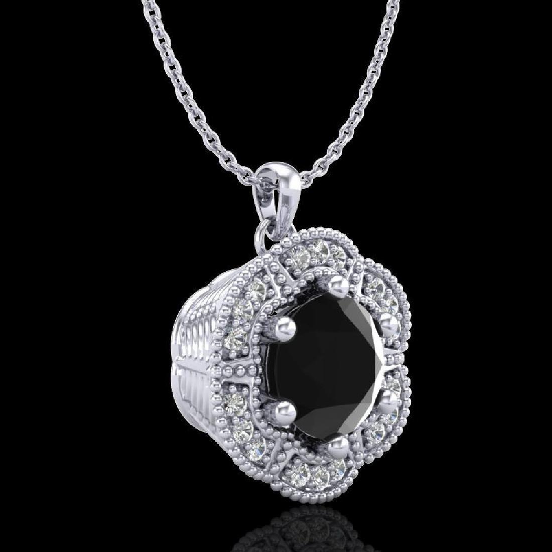 1.01 CTW Fancy Black Diamond Solitaire Art Deco Stud - 3