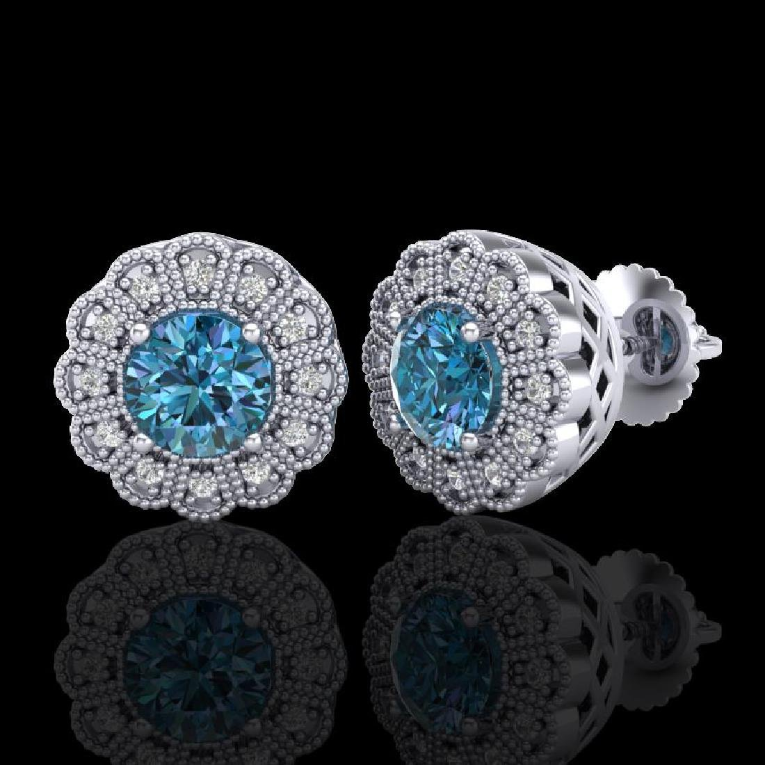 1.32 CTW Fancy Intense Blue Diamond Art Deco Stud - 2