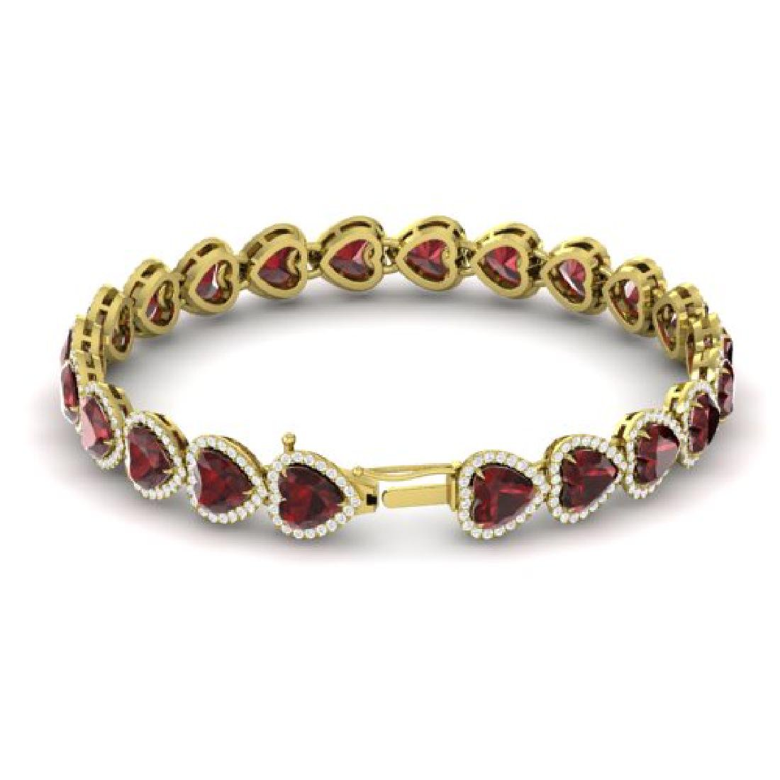 25 CTW Garnet & Micro Pave VS/SI Diamond Bracelet Heart - 3