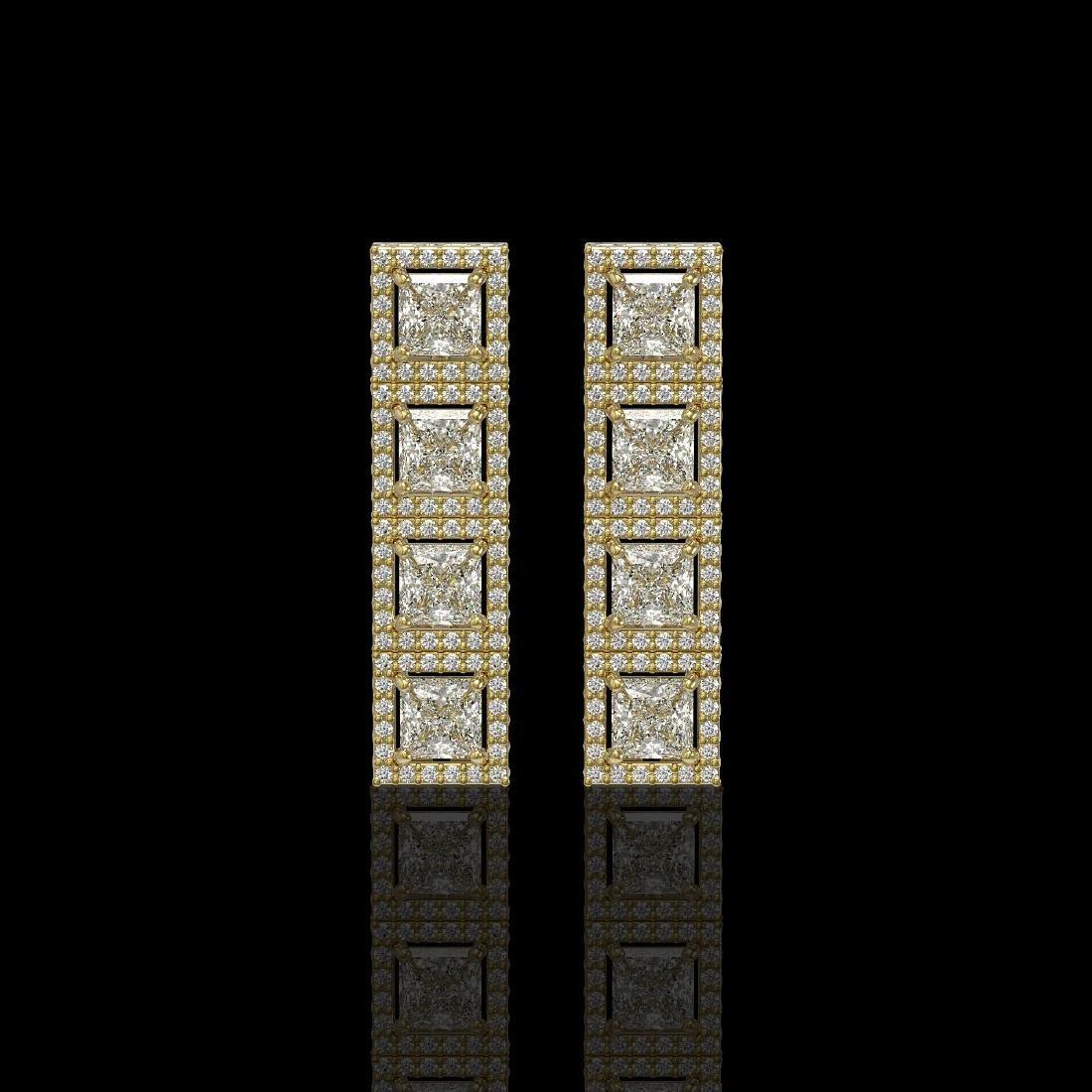 5.31 CTW Princess Diamond Designer Earrings 18K Yellow