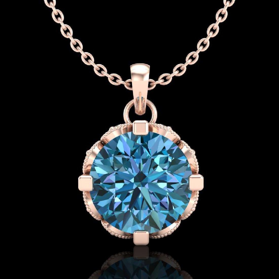 1.5 CTW Fancy Intense Blue Diamond Solitaire Art Deco