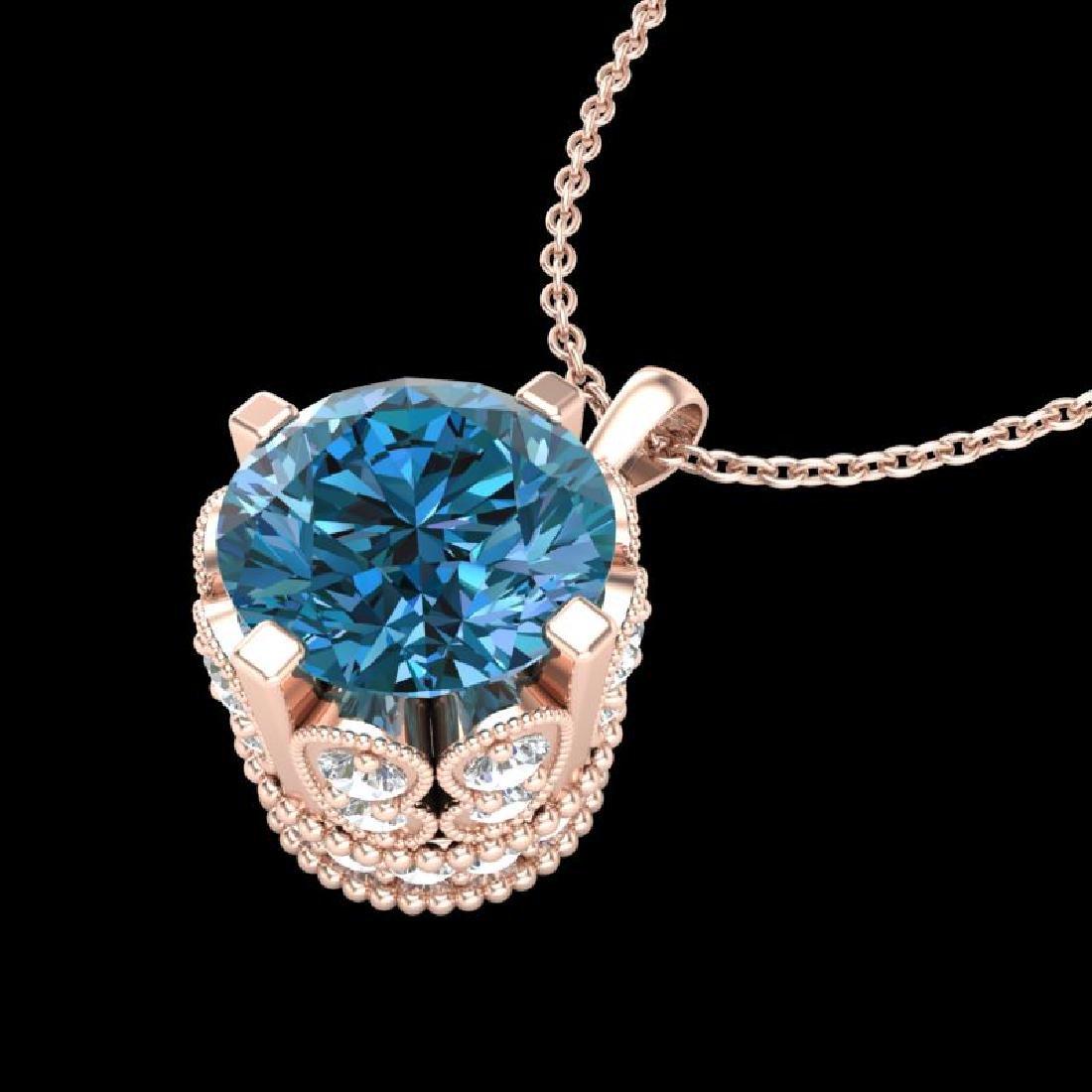 1.5 CTW Fancy Intense Blue Diamond Solitaire Art Deco - 2