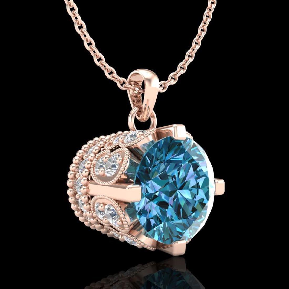 1.5 CTW Fancy Intense Blue Diamond Solitaire Art Deco - 3