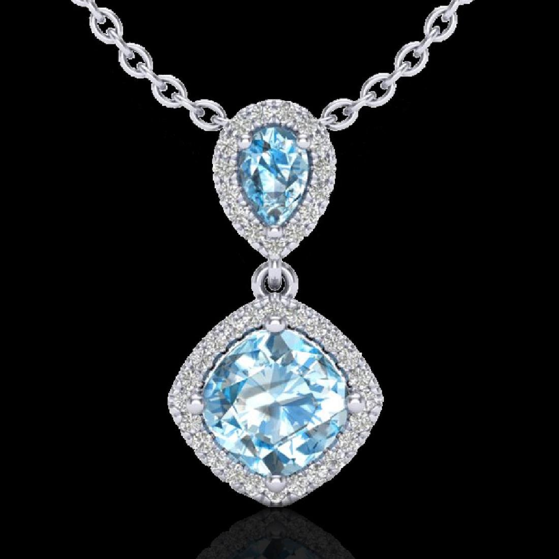 3.50 CTW Sky Blue Topaz & Micro VS/SI Diamond Necklace