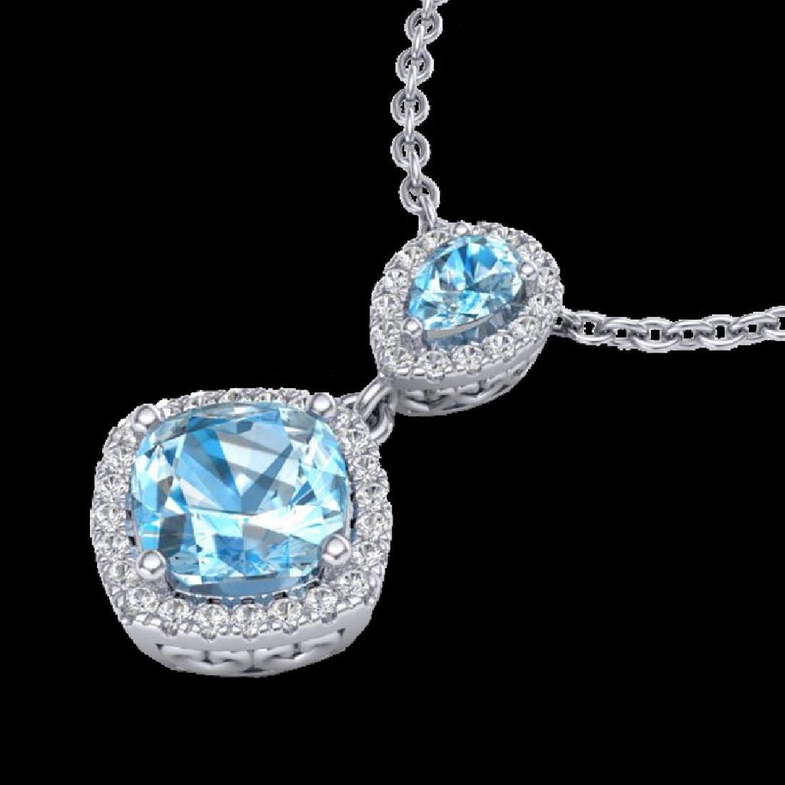3.50 CTW Sky Blue Topaz & Micro VS/SI Diamond Necklace - 2