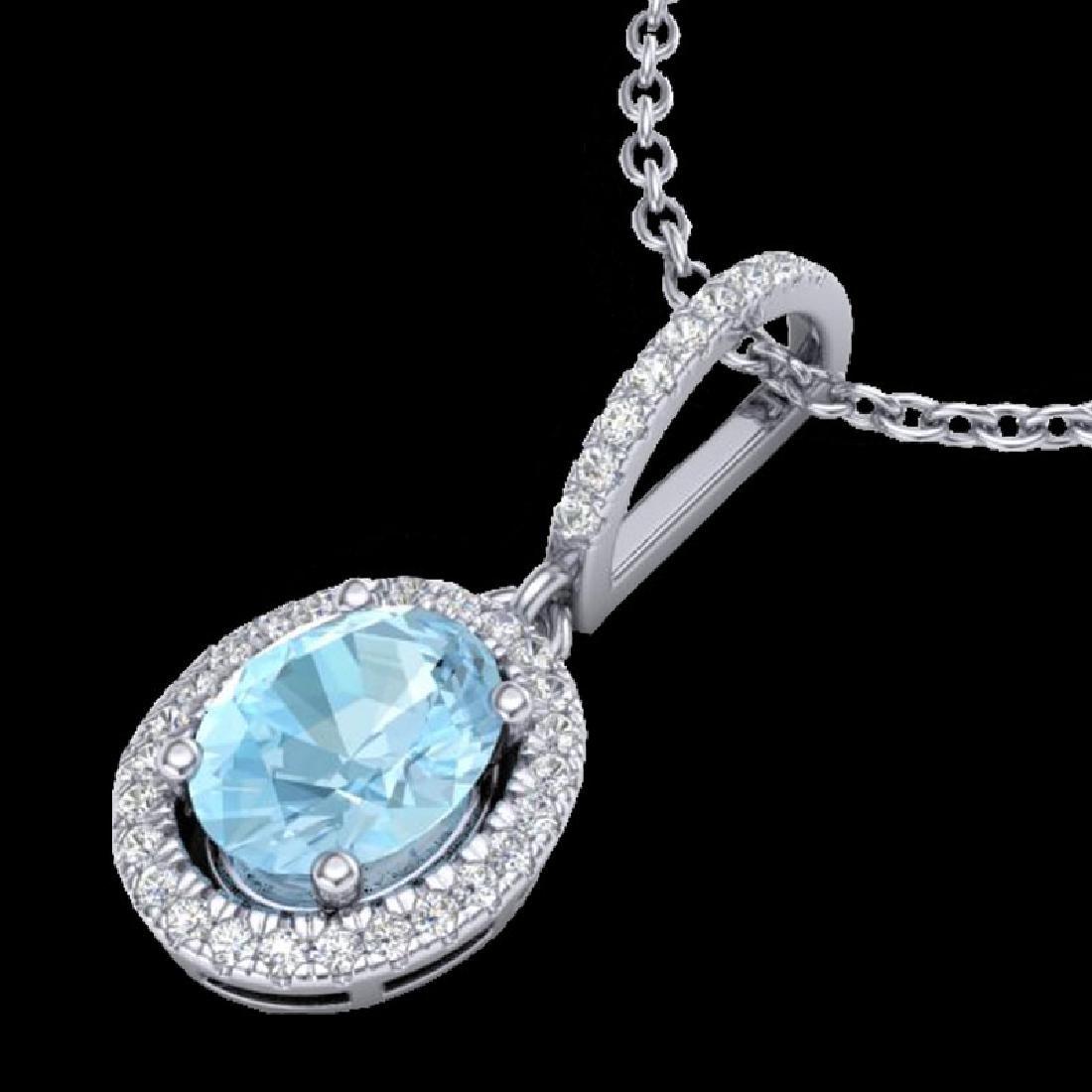 1.75 CTW Aquamarine & Micro VS/SI Diamond Necklace Halo - 2
