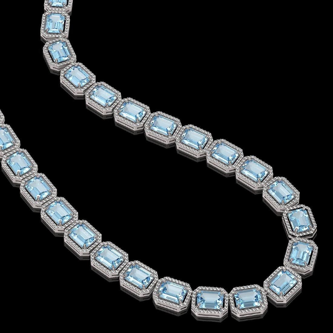 80.98 CTW Aquamarine & Diamond Halo Necklace 10K White - 2