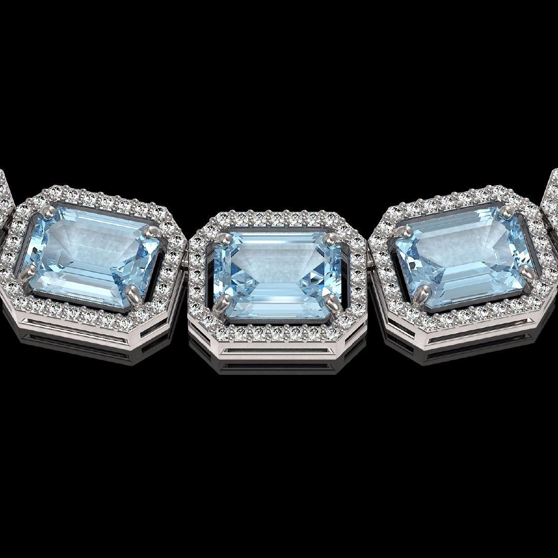 80.98 CTW Aquamarine & Diamond Halo Necklace 10K White - 3