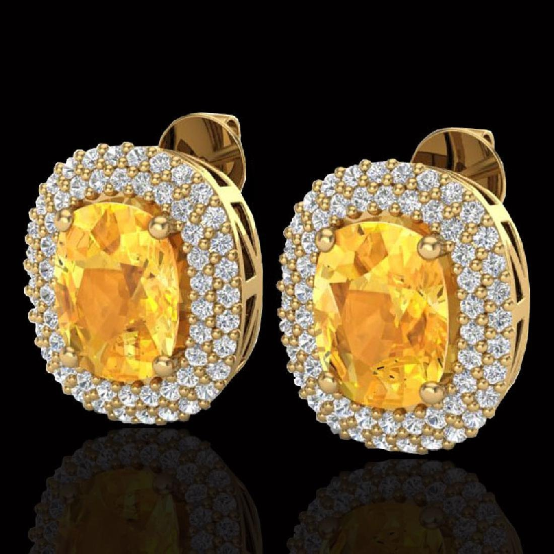 6 CTW Citrine & Micro Pave VS/SI Diamond Halo Earrings