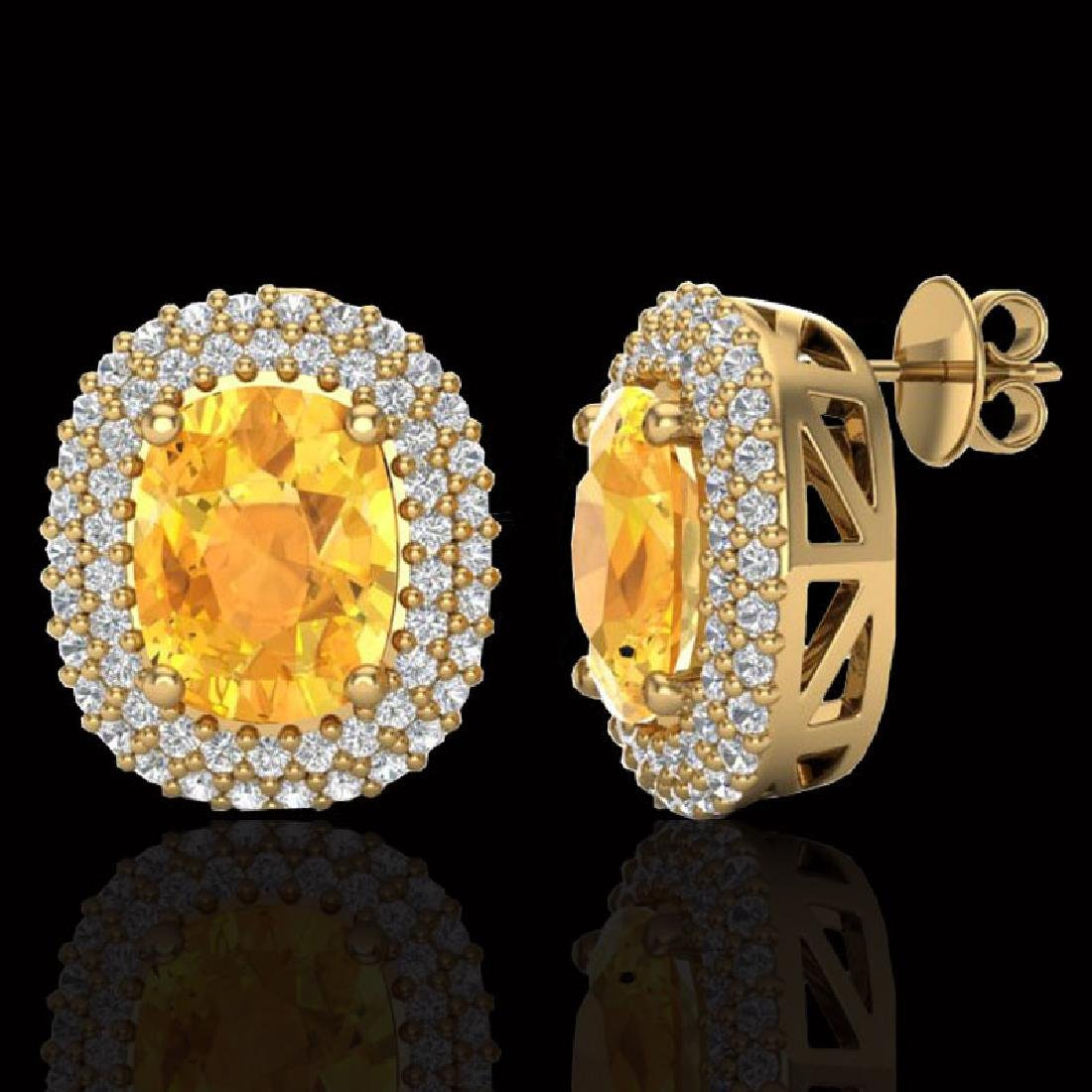 6 CTW Citrine & Micro Pave VS/SI Diamond Halo Earrings - 2