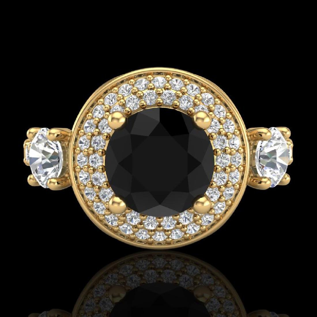 2.05 CTW Fancy Black Diamond Solitaire Art Deco 3 Stone - 2