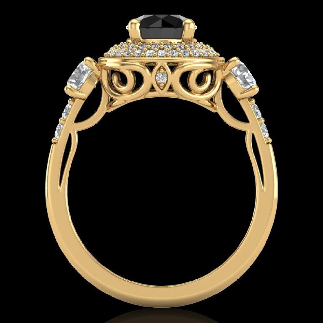 2.05 CTW Fancy Black Diamond Solitaire Art Deco 3 Stone - 3