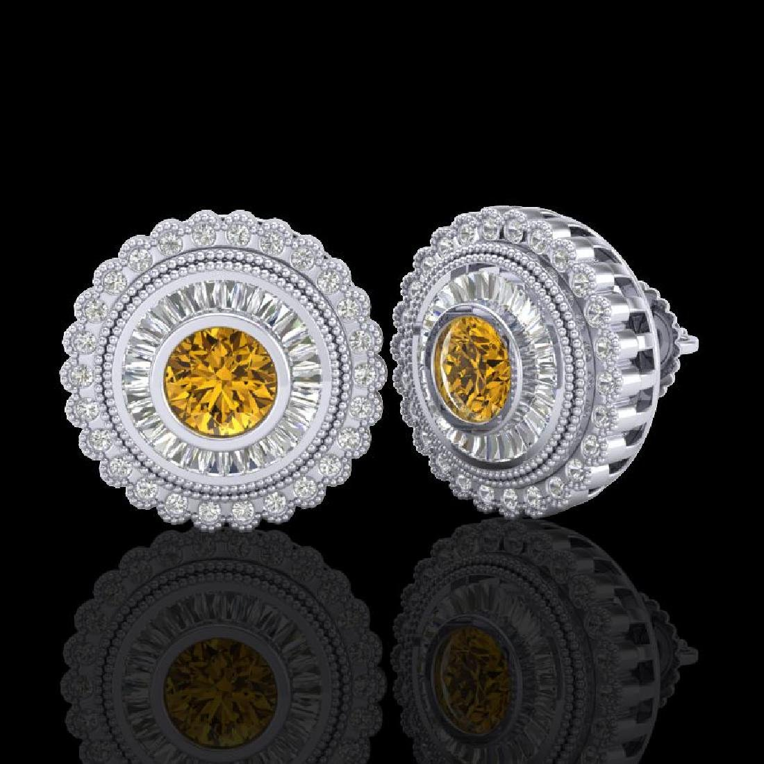 2.61 CTW Intense Fancy Yellow Diamond Art Deco Stud - 2