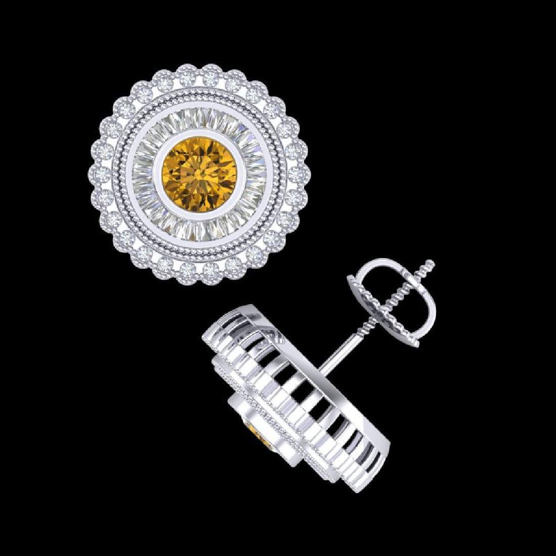 2.61 CTW Intense Fancy Yellow Diamond Art Deco Stud - 3