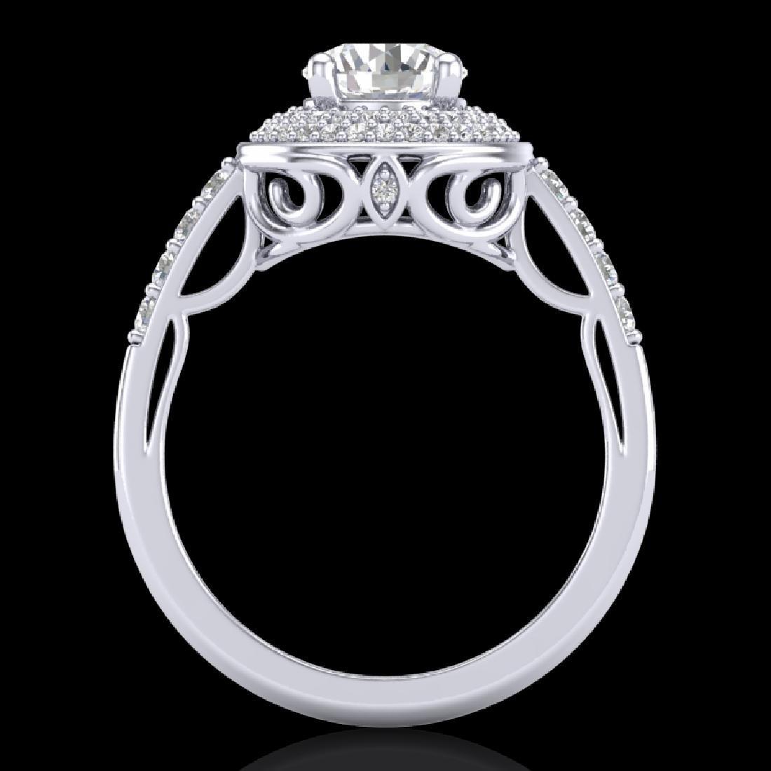 1.7 CTW VS/SI Diamond Solitaire Art Deco Ring 18K White