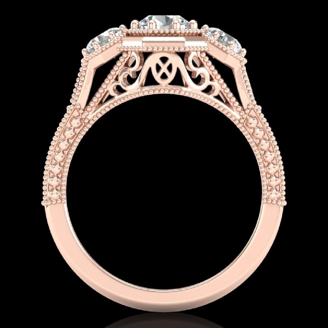 1.05 CTW VS/SI Diamond Solitaire Art Deco 3 Stone Ring