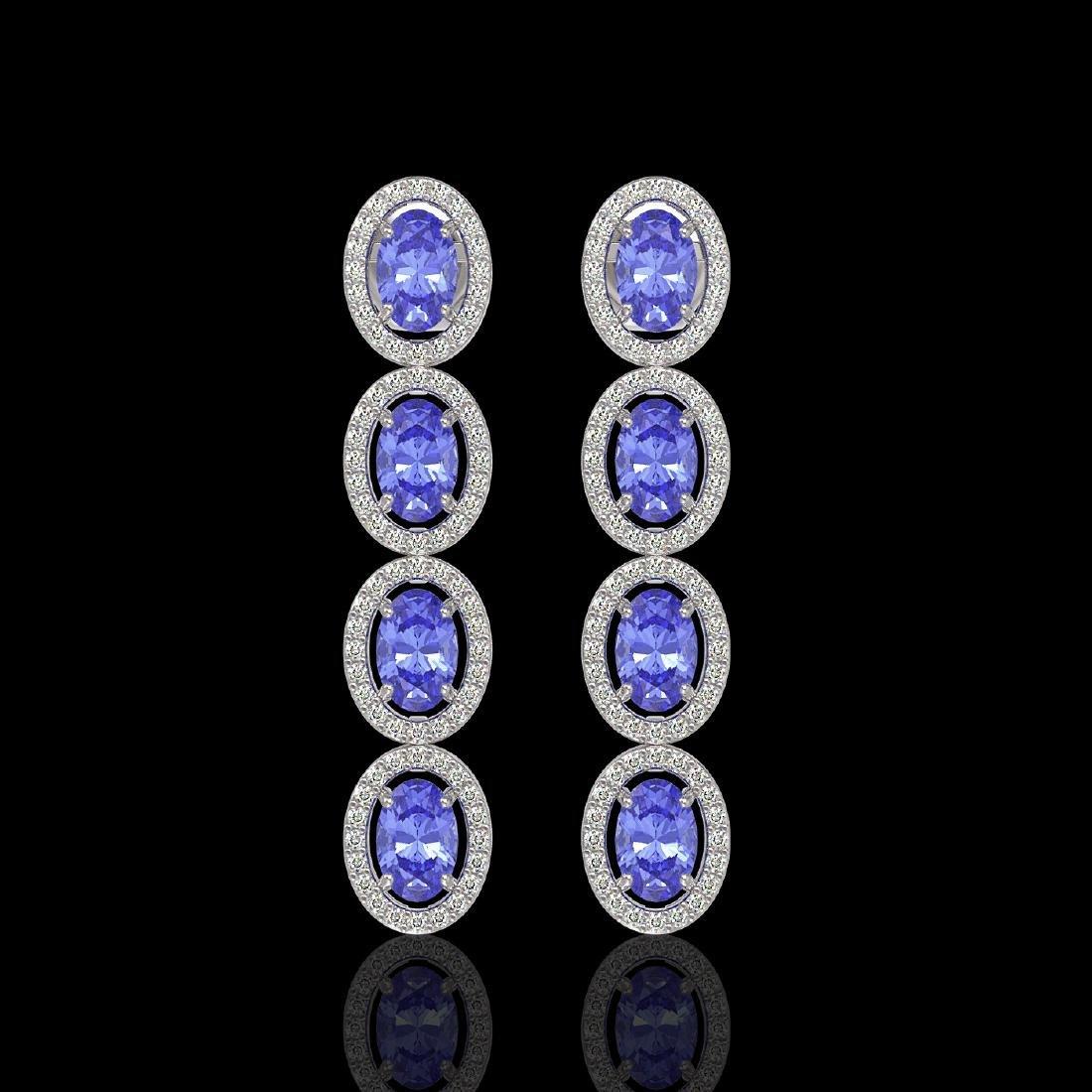 6.09 CTW Tanzanite & Diamond Halo Earrings 10K White