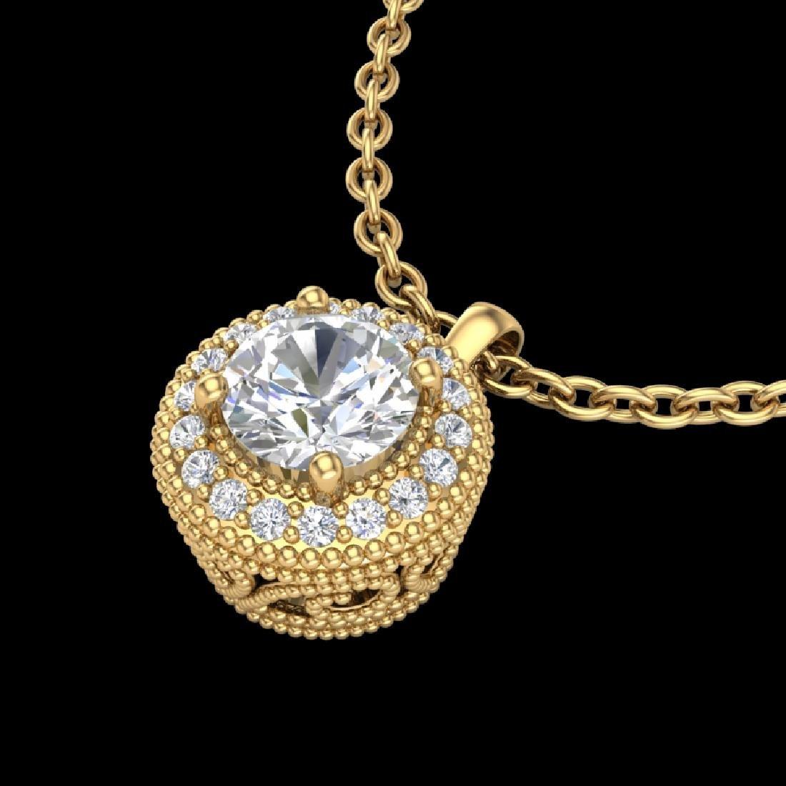 1 CTW VS/SI Diamond Solitaire Art Deco Stud Necklace