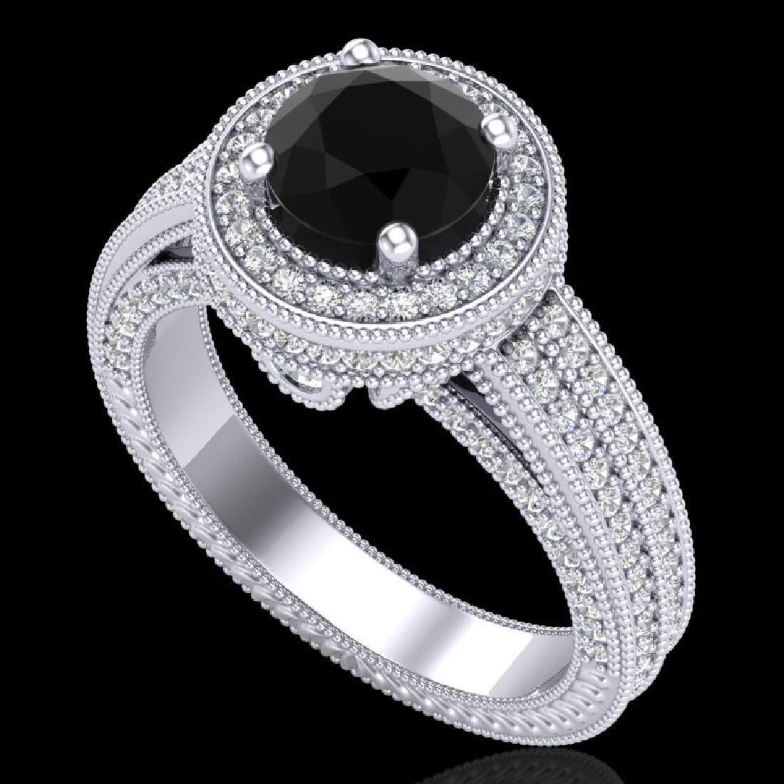 2.8 CTW Fancy Black Diamond Solitaire Engagement Art