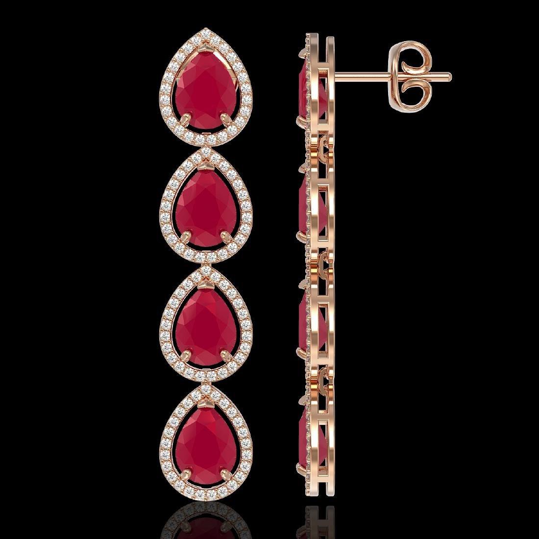 16.01 CTW Ruby & Diamond Halo Earrings 10K Rose Gold - 2