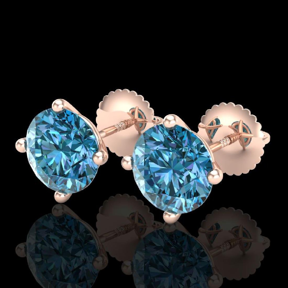 3.01 CTW Fancy Intense Blue Diamond Art Deco Stud