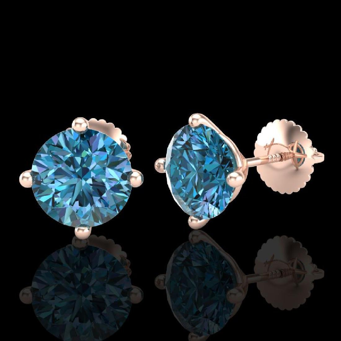 3.01 CTW Fancy Intense Blue Diamond Art Deco Stud - 2