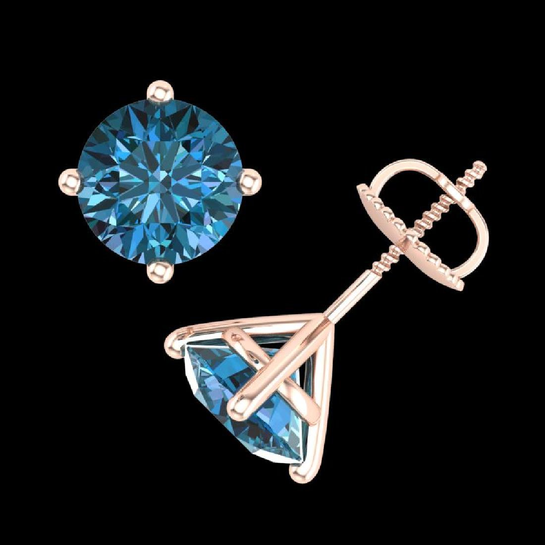 3.01 CTW Fancy Intense Blue Diamond Art Deco Stud - 3