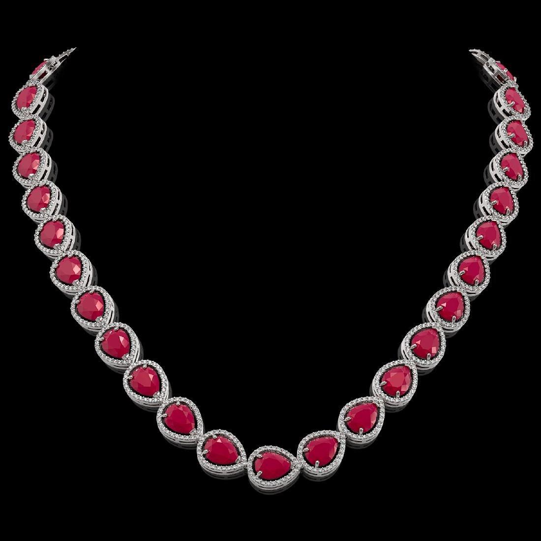64.01 CTW Ruby & Diamond Halo Necklace 10K White Gold