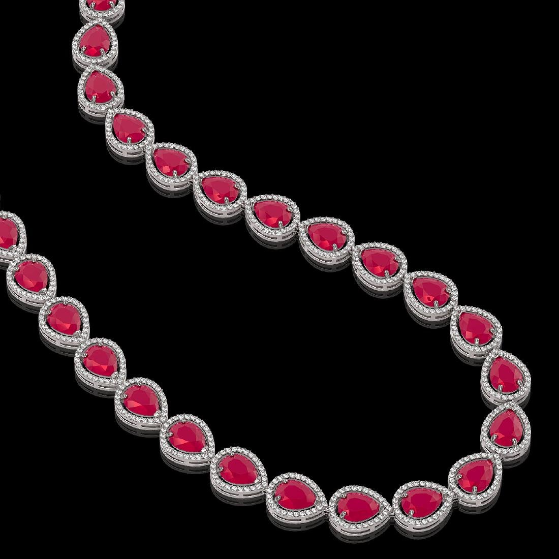 64.01 CTW Ruby & Diamond Halo Necklace 10K White Gold - 2