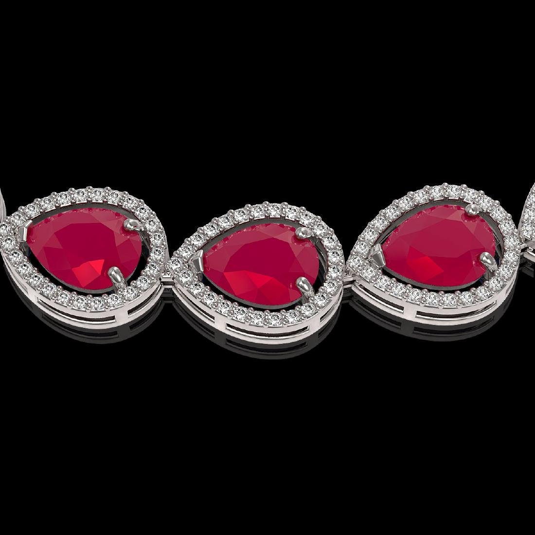 64.01 CTW Ruby & Diamond Halo Necklace 10K White Gold - 3