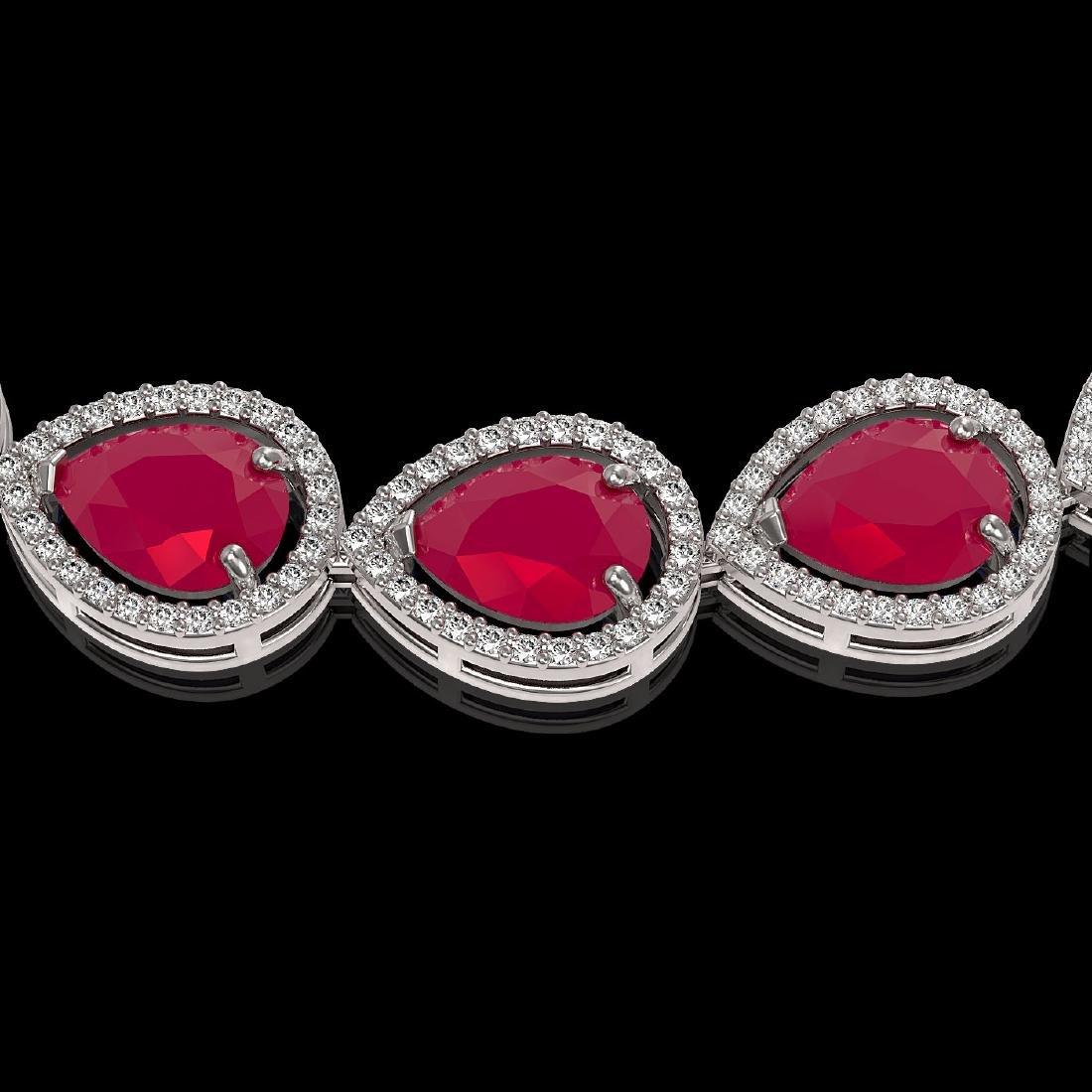 64.01 CTW Ruby & Diamond Halo Necklace 10K White Gold - 3