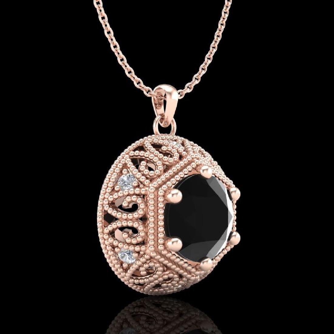 1.11 CTW Fancy Black Diamond Solitaire Art Deco Stud - 3