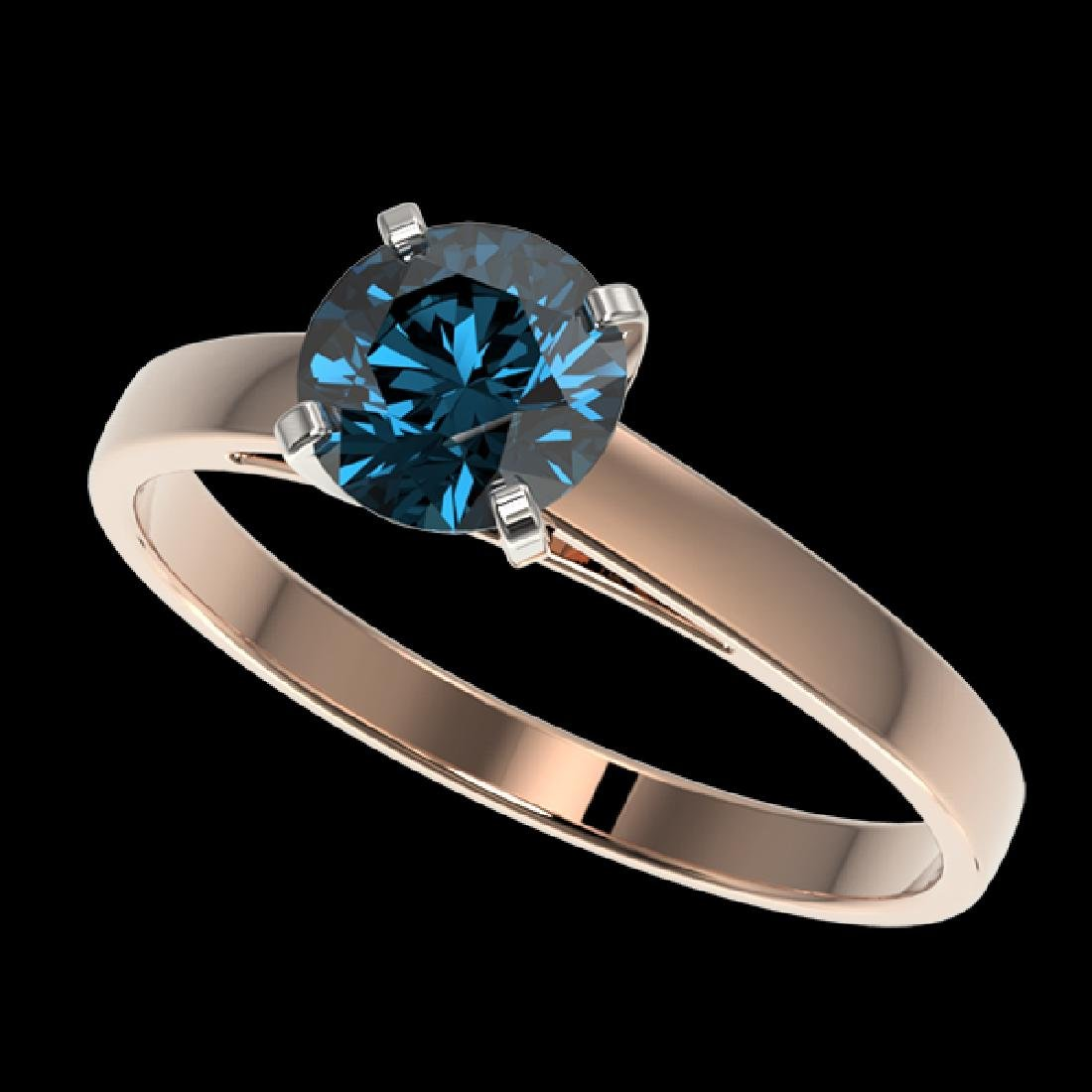 1 CTW Certified Intense Blue SI Diamond Solitaire