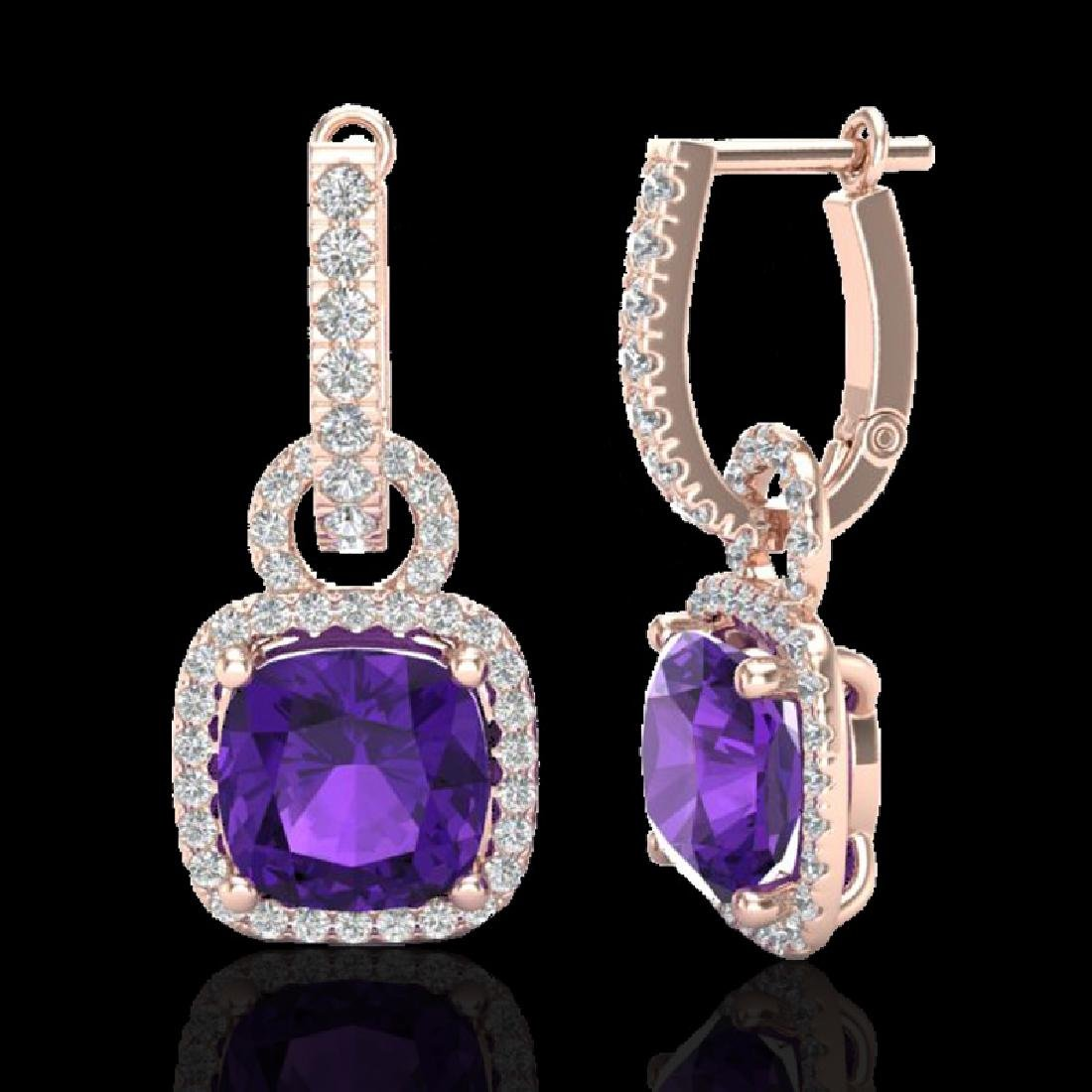 7 CTW Amethyst & Micro Pave VS/SI Diamond Earrings 14K - 2