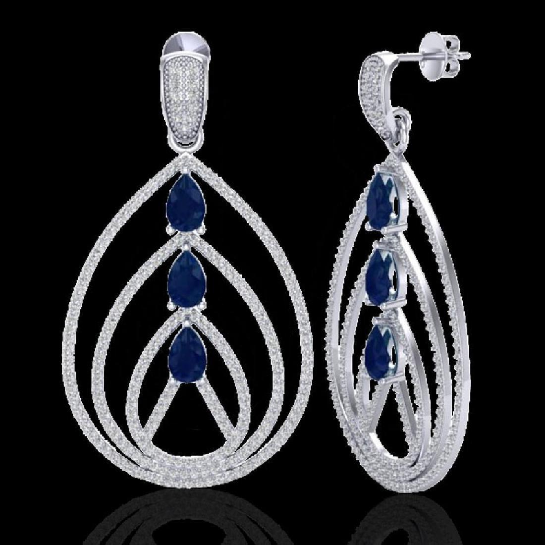 4 CTW Sapphire & Micro Pave VS/SI Diamond Designer - 2