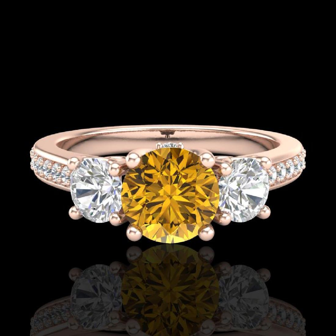 1.67 CTW Intense Fancy Yellow Diamond Art Deco 3 Stone - 2